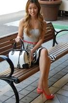coral coral Aldo heels - stripe Agaci dress - Alice  Olivia bag