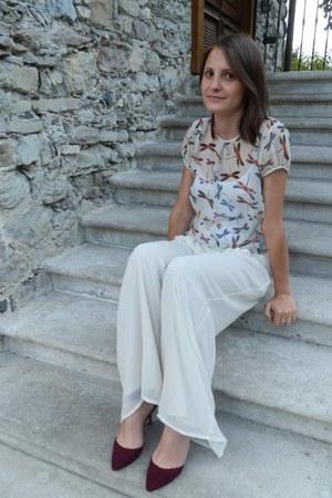 ivory Zara top - ivory Zara pants - magenta pointy Zara heels
