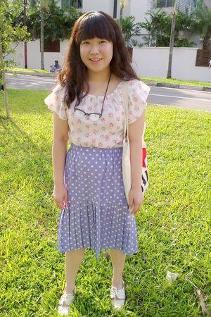 pink vintage blouse - purple vintage skirt - white Mitju shoes - black Tatty Dev