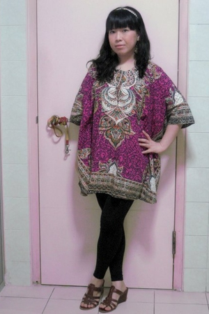 pink vintage dress - brown giovanna shoes - black Topshop leggings - gold Access