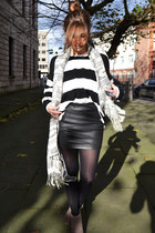 white Forever 21 sweater - black Stradivarius skirt