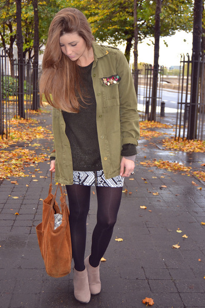 black H&M skirt - dark green Zara jacket