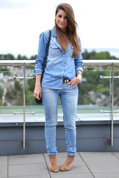 blue Zara jeans - blue Primark shirt