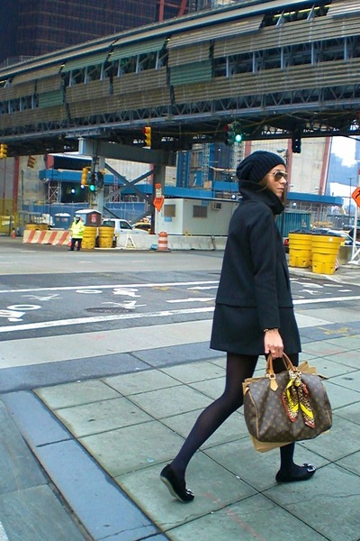 Louis Vuitton bag - Zara coat - Sisley hat - D&amp;G scarf - stuart weitzman flats