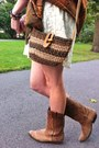Brown-cowboy-aldo-boots-ivory-thrifted-dress-burnt-orange-thrifted-scarf