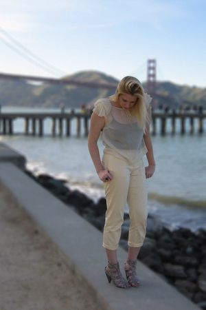 beige Kimchi&Blue blouse - black BP top - yellow Moda pants - gray Christian Sir