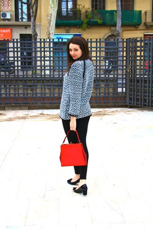 black Zara leggings - red vintage vintage bag - black Marks & Spencers heels