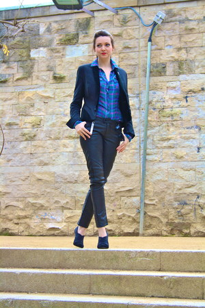 velvet lepels Topshop blazer - checks Stradivarius shirt