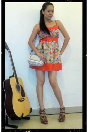 pink Missy bag - brown shoes - orange Forever 21 dress