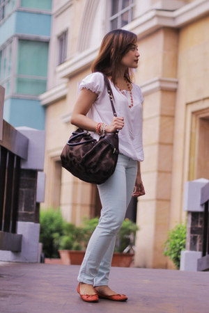 Zara jeans - coach bag - tory burch flats