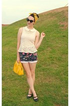gold patent leather purse - navy Ralph Lauren shorts - black mary jane pumps
