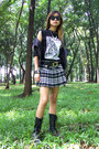 Black-faux-leather-tango-jacket-black-plaid-yrys-skirt