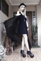 black H&M hat - black Shop Dainty boots - black vintage dress