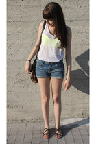 yellow fluo H&M bra - black leopard print H&M bag - blue H&M shorts