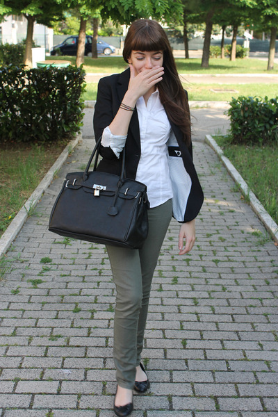 black H&M jacket - olive green Tally Weijl jeans - white Calliope shirt