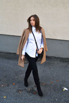 black over the knee Forever 21 boots - camel wool H&M coat