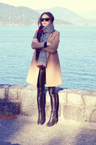 black Topshop boots - camel wool H&M coat - faux leather Aritzia leggings