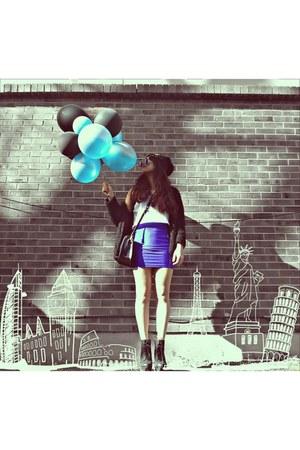 navy Forever 21 bag - black H&M hat - blue Forever 21 sunglasses