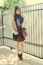 black vintage blazer - dark brown suede boots - leather vintage bag