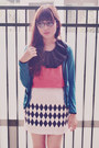Vintage-loony-glasses-tribal-printed-primark-skirt