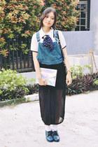 cropped denim DIY jumper - black chiffon thrifted vintage dress