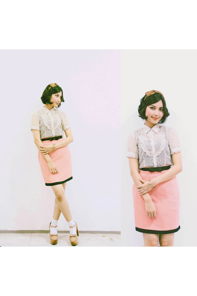 beige lace Accent shirt - salmon Thrift Store skirt - Adorable Projects clogs