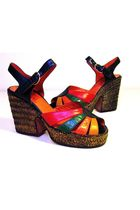 Orange-lauro-righi-clogs-black-gold-yellow-green-red