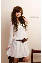 white blouse - brown belt