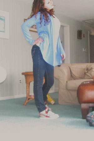 white Forever 21 shirt - blue hollister jeans - blue Express cardigan - red DC s