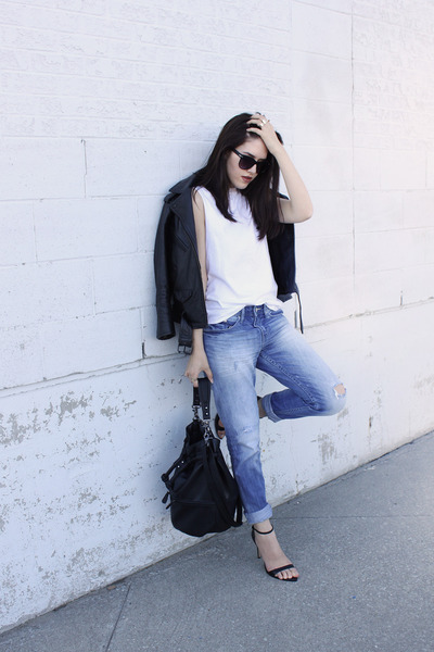 boyfriend H&M jeans - biker H&M jacket - bucket H&M bag - leather Zara sandals