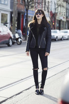 cutout Forever 21 boots - ripped H&M jeans - moto Forever 21 jacket