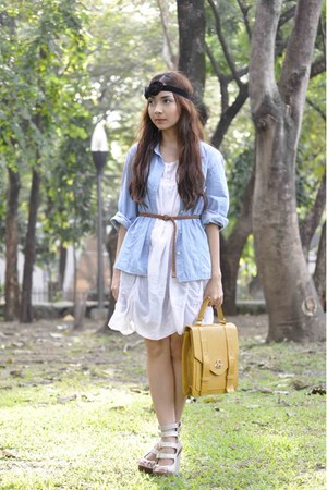 white thrifted dress - thrifted shirt - off white michael antonio wedges - musta