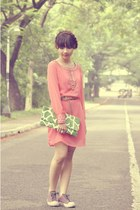 salmon Philosophy dress - green purse - purple Converse sneakers