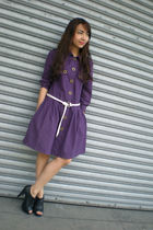 purple thrifted dress - white SM belt - black Parisian shoes