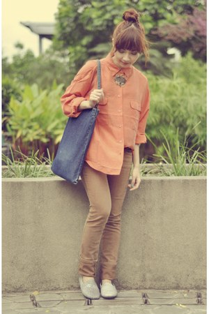 orange etam shirt - brown thrifted jeans - blue thrifted bag