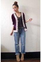 boyfriend from hong kong jeans - purple velvet thrift bar cardigan - tan Parisia