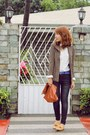 Tan-primadonna-loafers-giordano-jeans-brown-houndstooth-blazer-tawny-purse