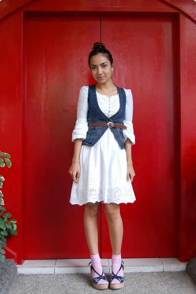 white thrifted dress - espadrille thrifted shoes - denim Jag vest