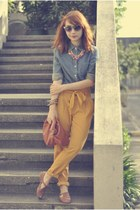 mustard pants - blue denim giordano shirt - brown Hebe Manila flats - necklace