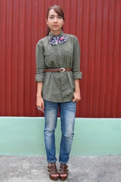 green boyfriends shirt - blue thrifted jeans - brown Parisian shoes - gifted - A