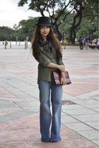 army green bfs shirt - Topshop jeans - crimson vintage purse - scarf - black SM