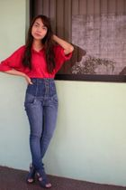 red thrifted shirt - Topshop jeans - blue Parisian shoes