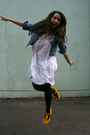 White-thrifted-dress-thrifted-jacket-yellow-maldita-shoes-black-random-acc