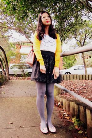 tights - bag - skirt - t-shirt - cardigan - flats