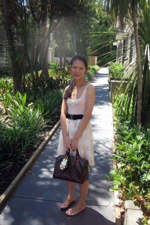 dress - bag - belt - earrings - necklace - flats