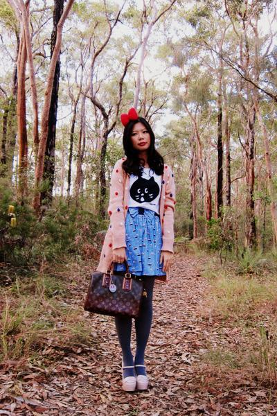 Louis Vuitton bag - Ne-net t-shirt - Dangerfield skirt - Hermes accessories - pe
