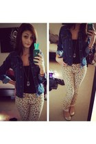 denim jacket Old Navy jacket - animal print Walmart pants
