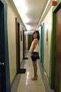 White-pink-manila-top-dark-green-h-m-skirt