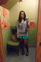 grey sweater - patterned tights - blue green shorts - black flats