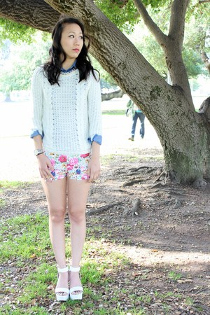ivory knit Pink Basis sweater - bubble gum Pink Basis shorts - blue denim top